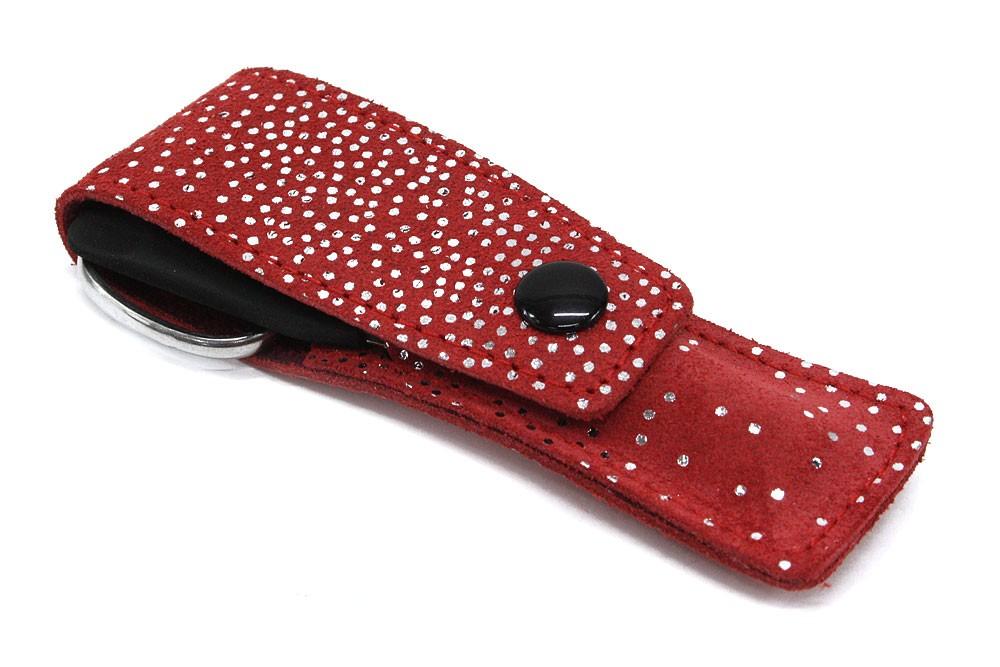 Stříbrnočervená cestovní kožená dámská manikúra Evonna