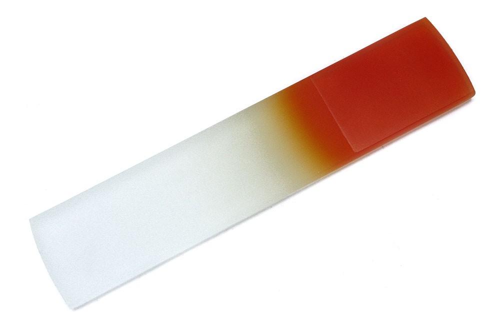 Oranžovobílý velký skleněný pilník na paty Lucian
