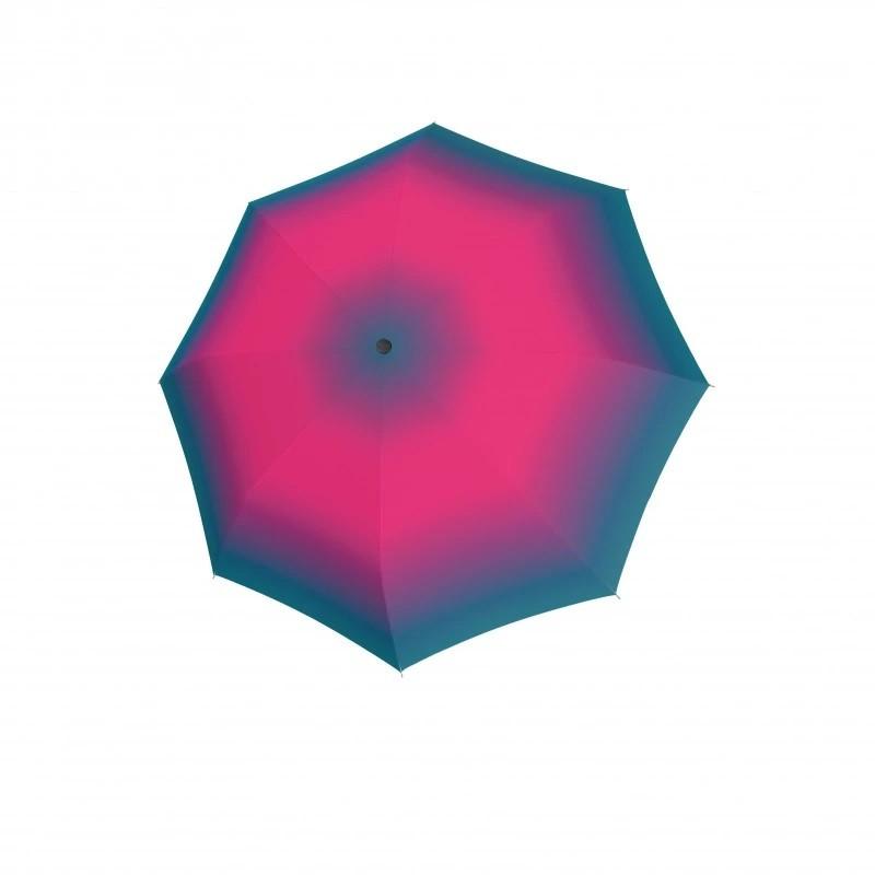 Růžový duhový automatický skládací dámský deštník Deeann