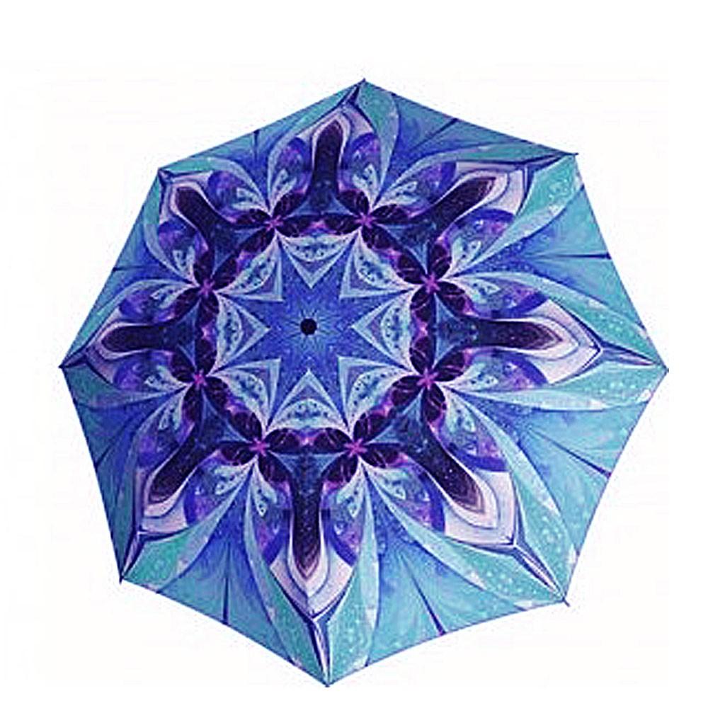 Modrý skládací plně automatický dámský saténový deštník se vzorem Haylie