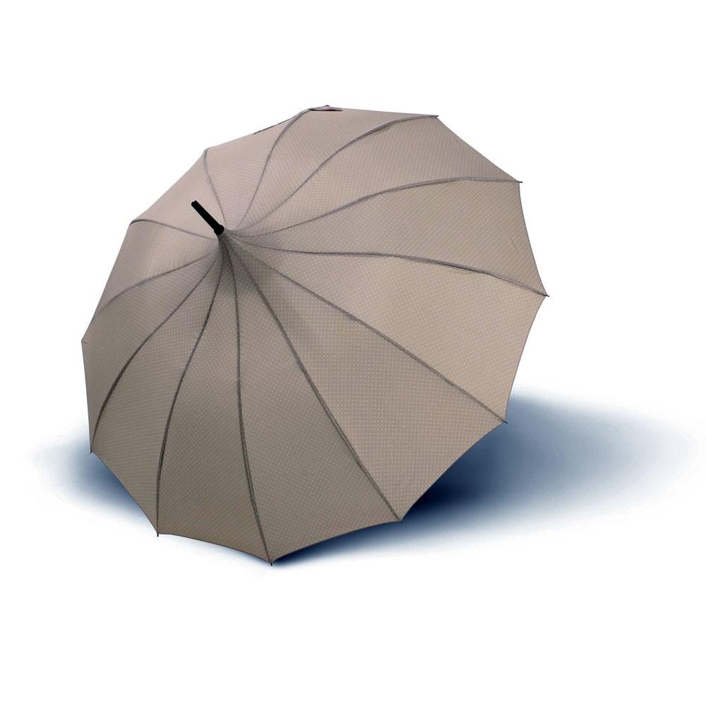 Béžovošedý dámský vystřelovací deštník Pagoda