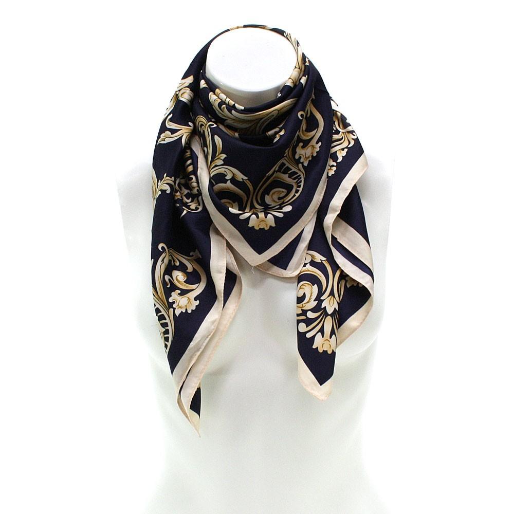 Tmavě modrý dámský módní šátek s motivem Shawntel