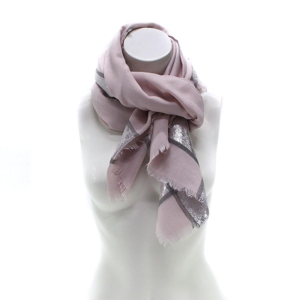 Růžový dámský módní šátek se stříbrným pruhem Vedette