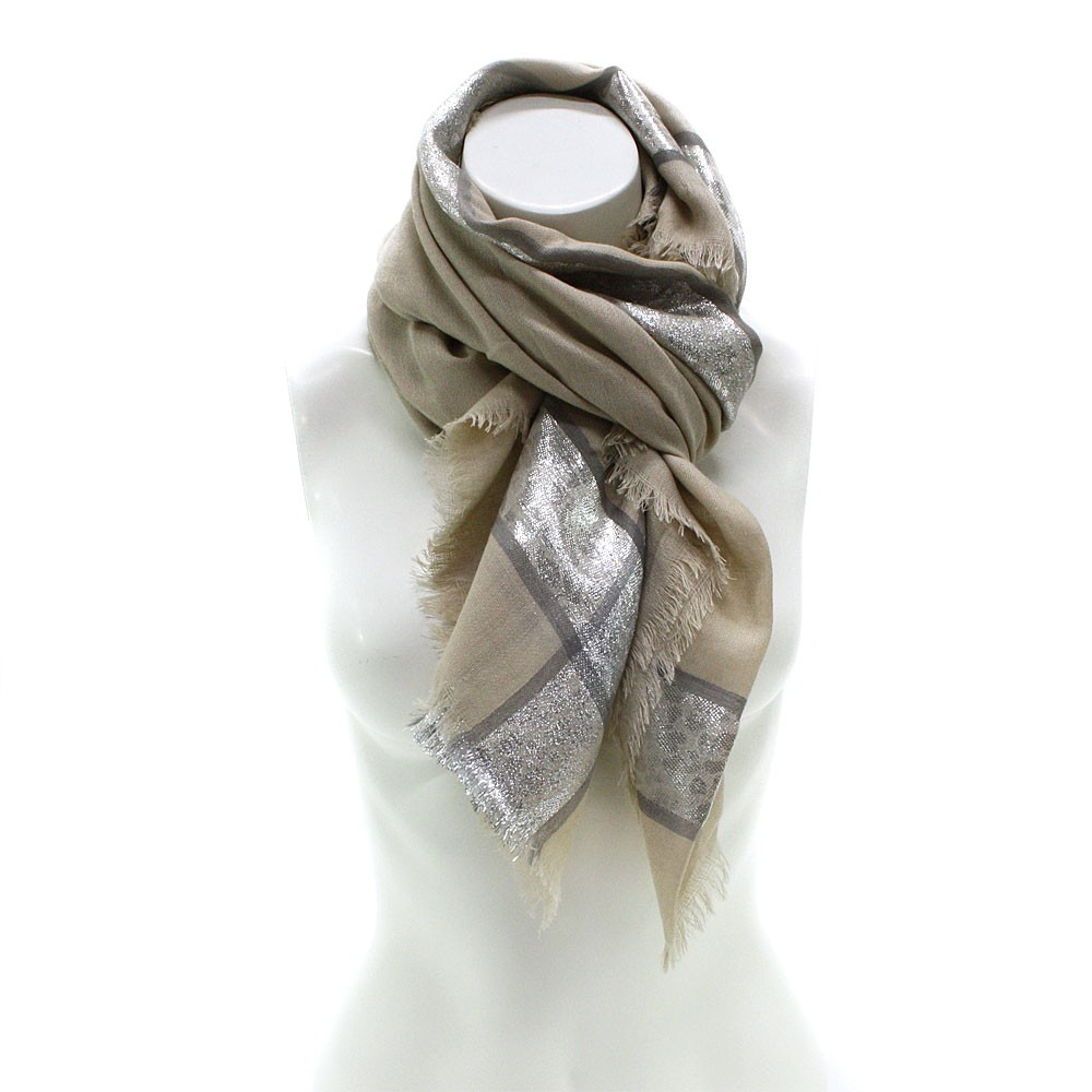Béžový dámský módní šátek se stříbrným pruhem Vedette