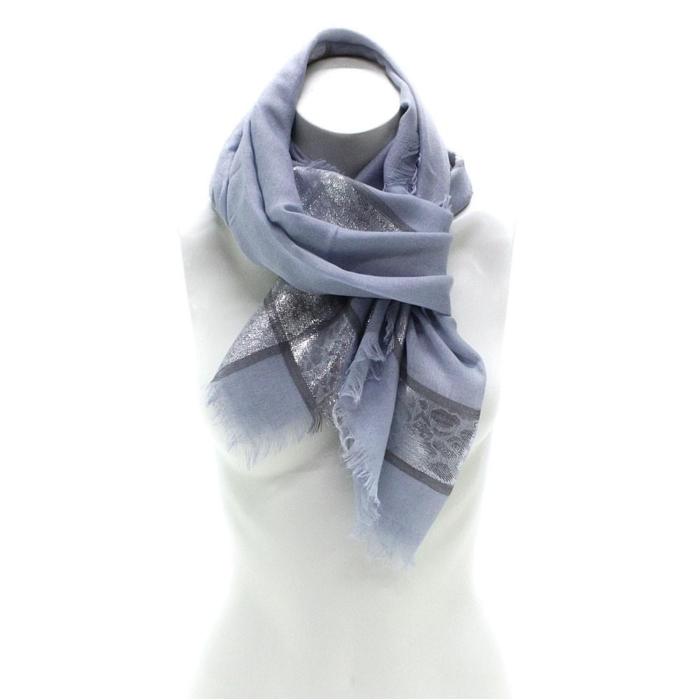 Modrý dámský módní šátek se stříbrným pruhem Vedette