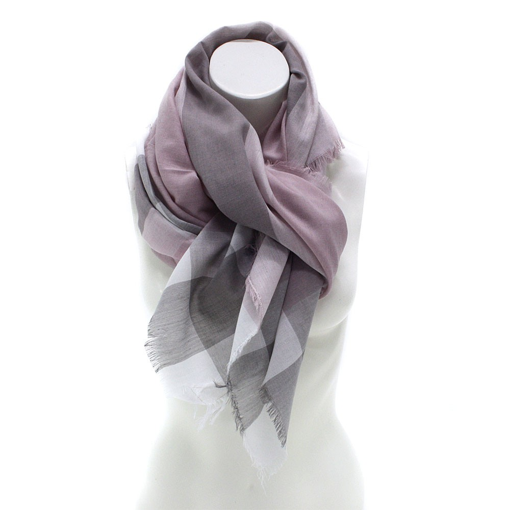 Světle růžový dámský šátek s pruhem Calanthe