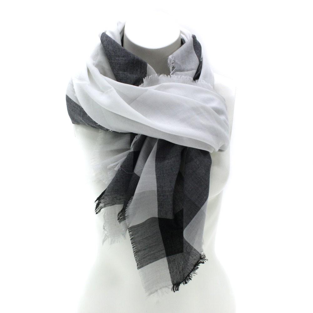 Černobílý dámský šátek s pruhem Calanthe