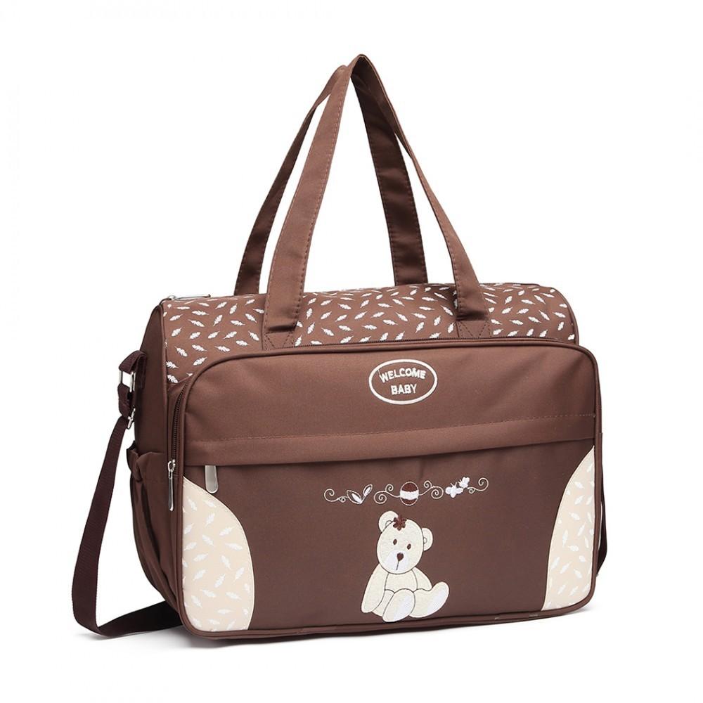 Hnědá praktická přebalovací taška s medvídkem Jeoffroi