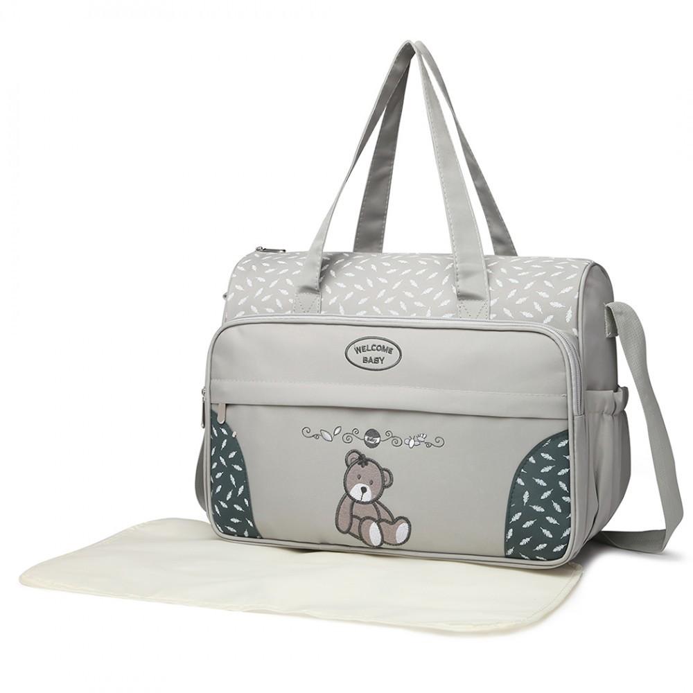 Šedá praktická přebalovací taška s medvídkem Jeoffroi