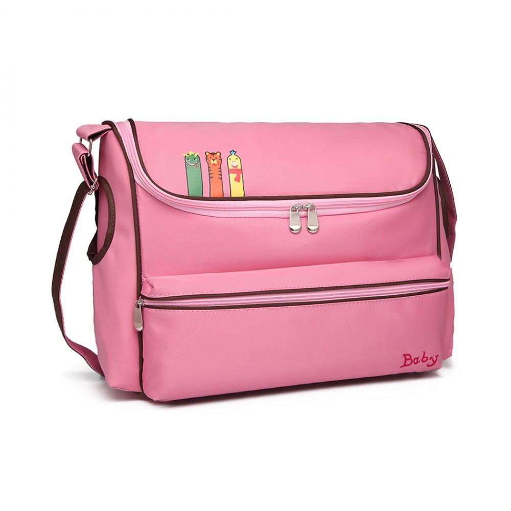 Růžová praktická přebalovací taška s obrázkem Buiron
