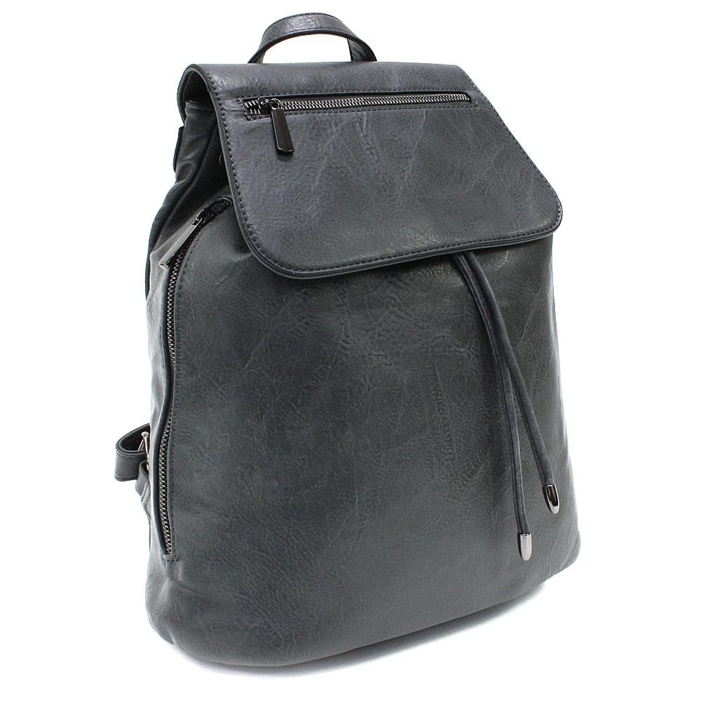 Tmavě šedý stylový dámský klopnový batoh Jazlynn