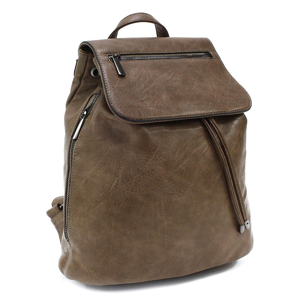 Šedohnědý stylový dámský klopnový batoh Jazlynn