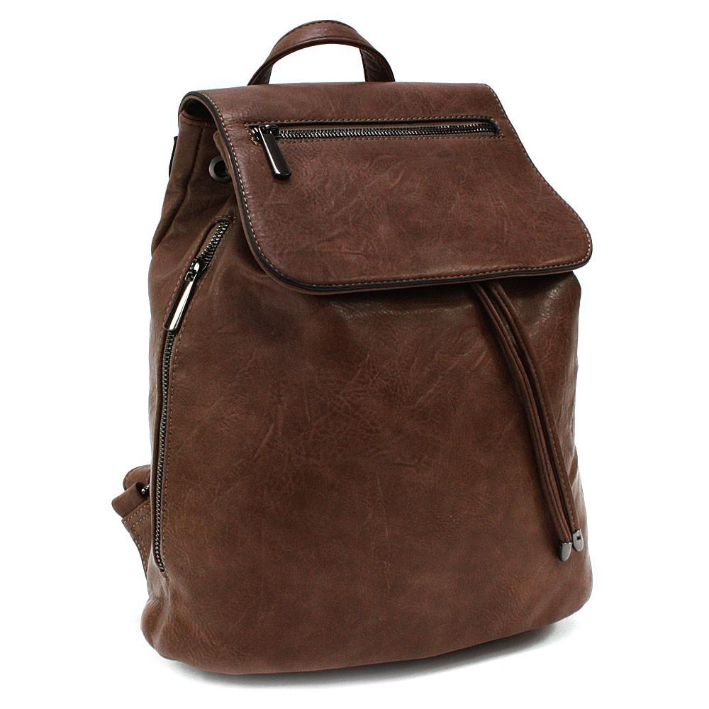 Kávově hnědý stylový dámský klopnový batoh Jazlynn