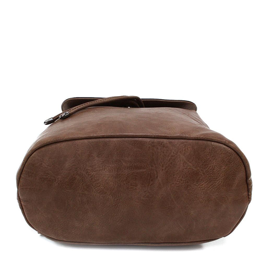 Hnědý stylový dámský klopnový batoh Jazlynn