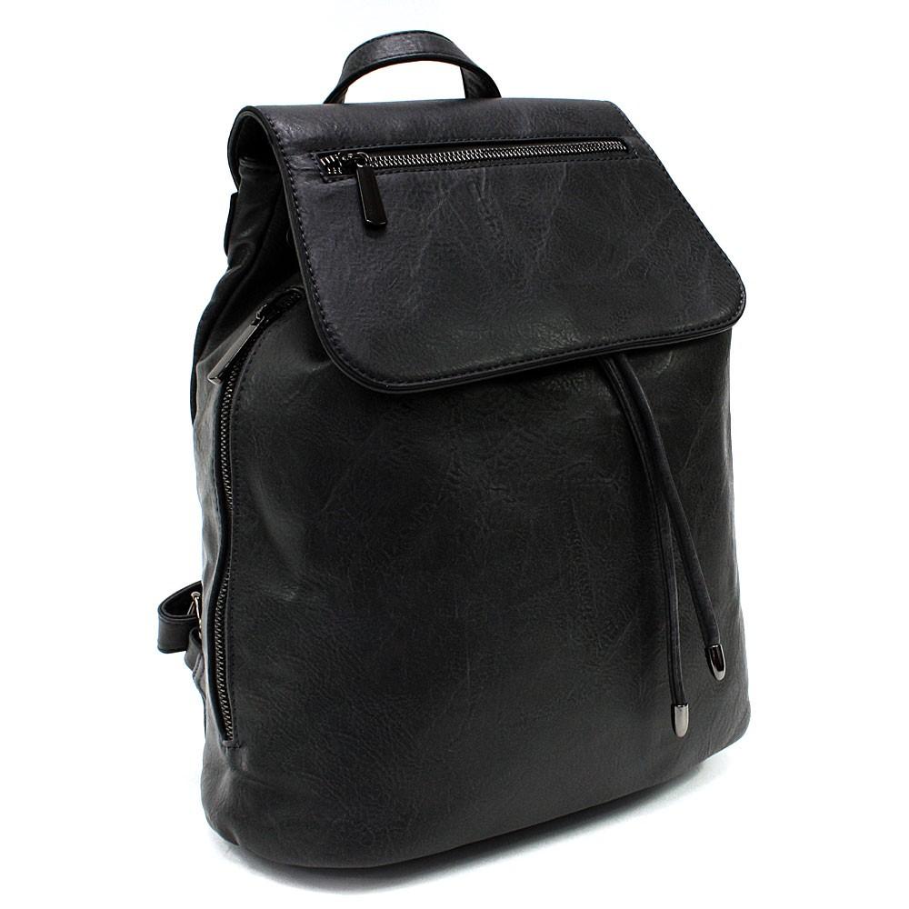 Černý stylový dámský klopnový batoh Jazlynn