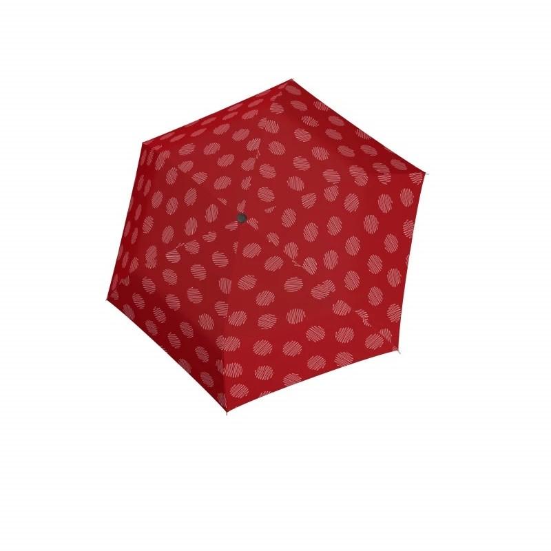 Červený mechanický skládací dámský deštník se vzorem Brynn