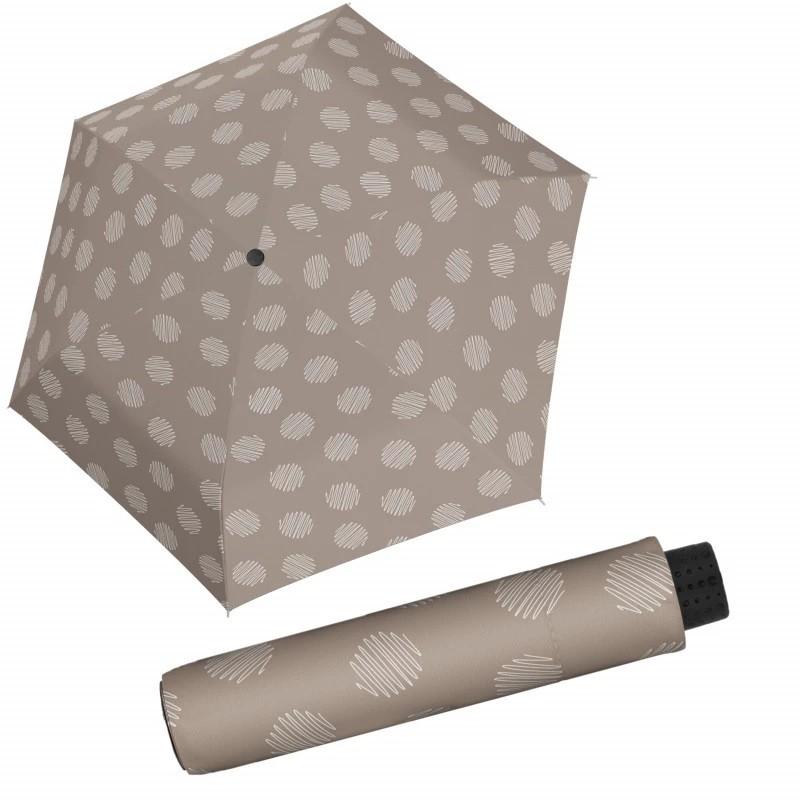 Šedobéžový mechanický skládací dámský deštník se vzorem Brynn