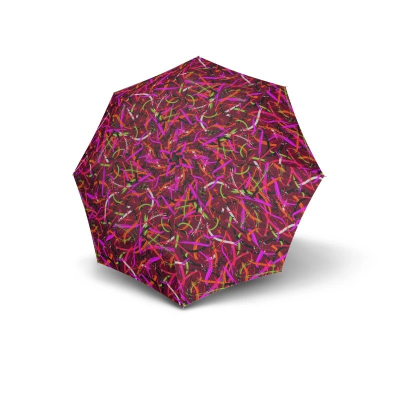 Růžový barevný mechanický skládací dámský deštník Alivia