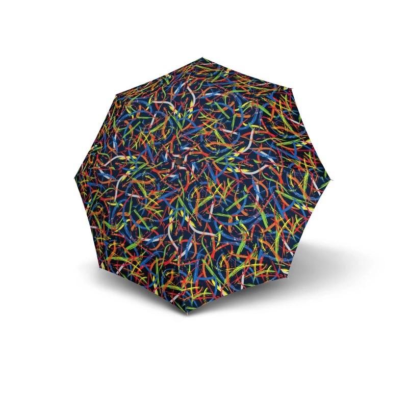 Modrý barevný mechanický skládací dámský deštník Alivia