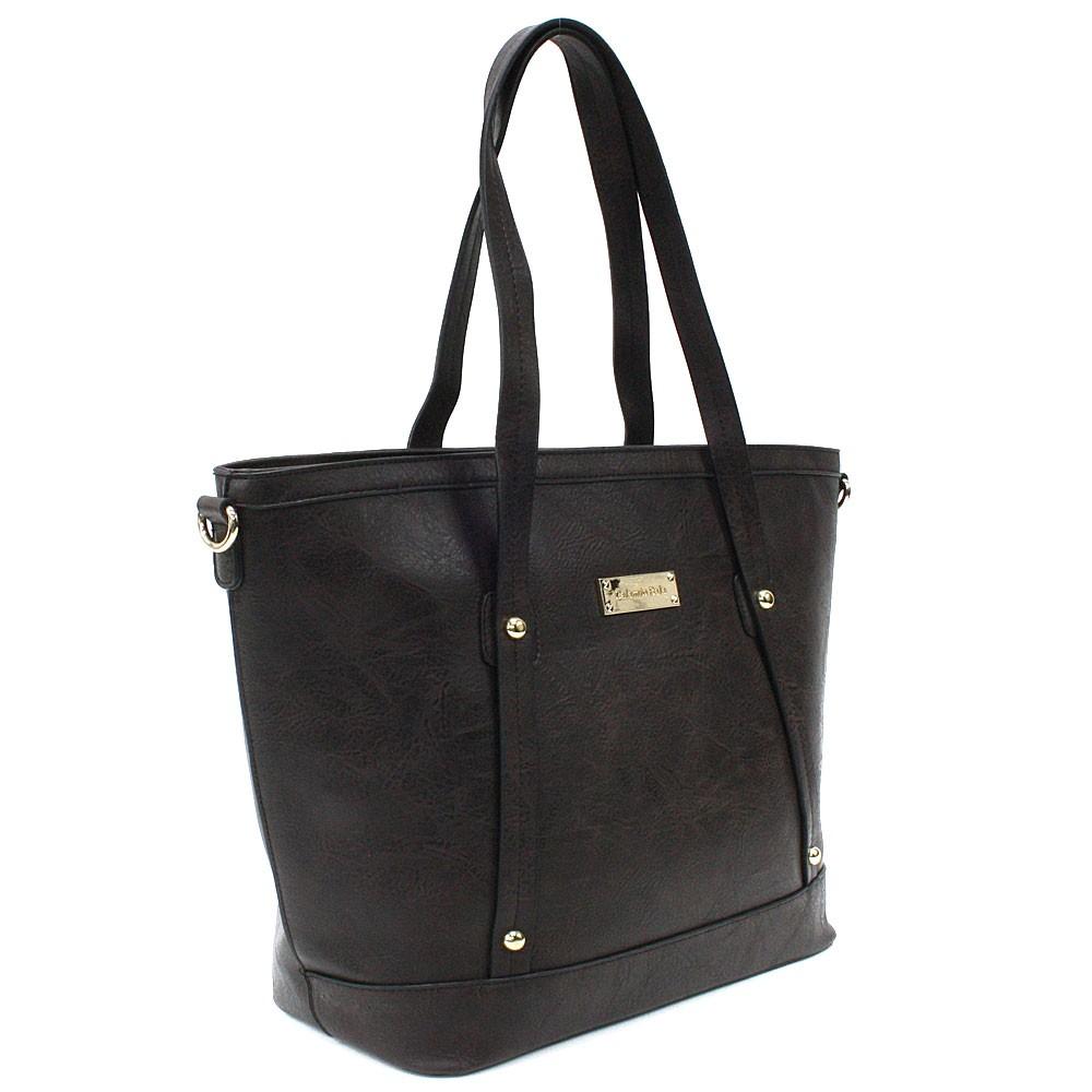 Kávově hnědá dámská elegantní kabelka do ruky i přes rameno Eloisa