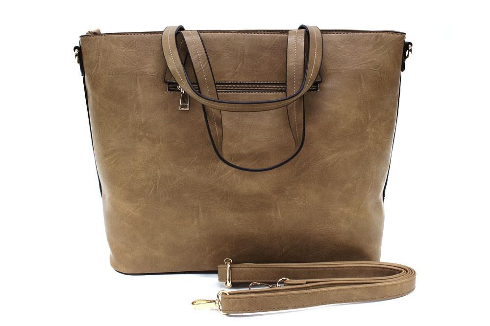 Světle hnědá dámská elegantní kabelka do ruky i přes rameno Eloisa