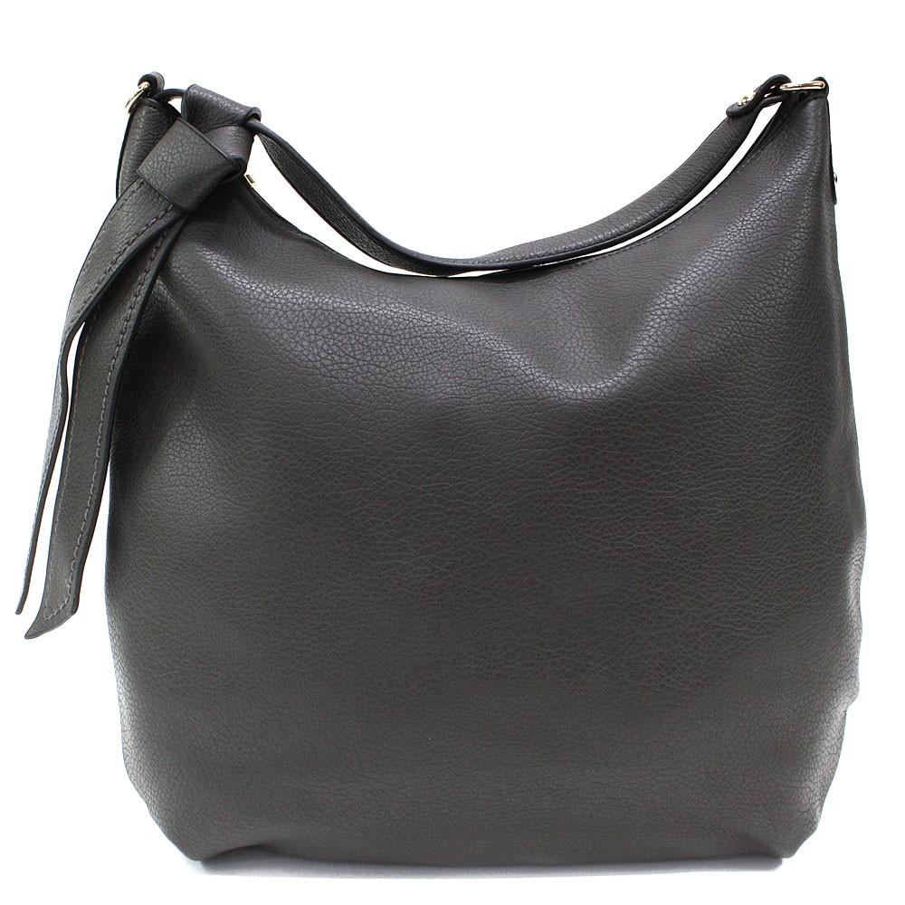 Tmavě šedá hladká dámská kabelka přes rameno Aubine