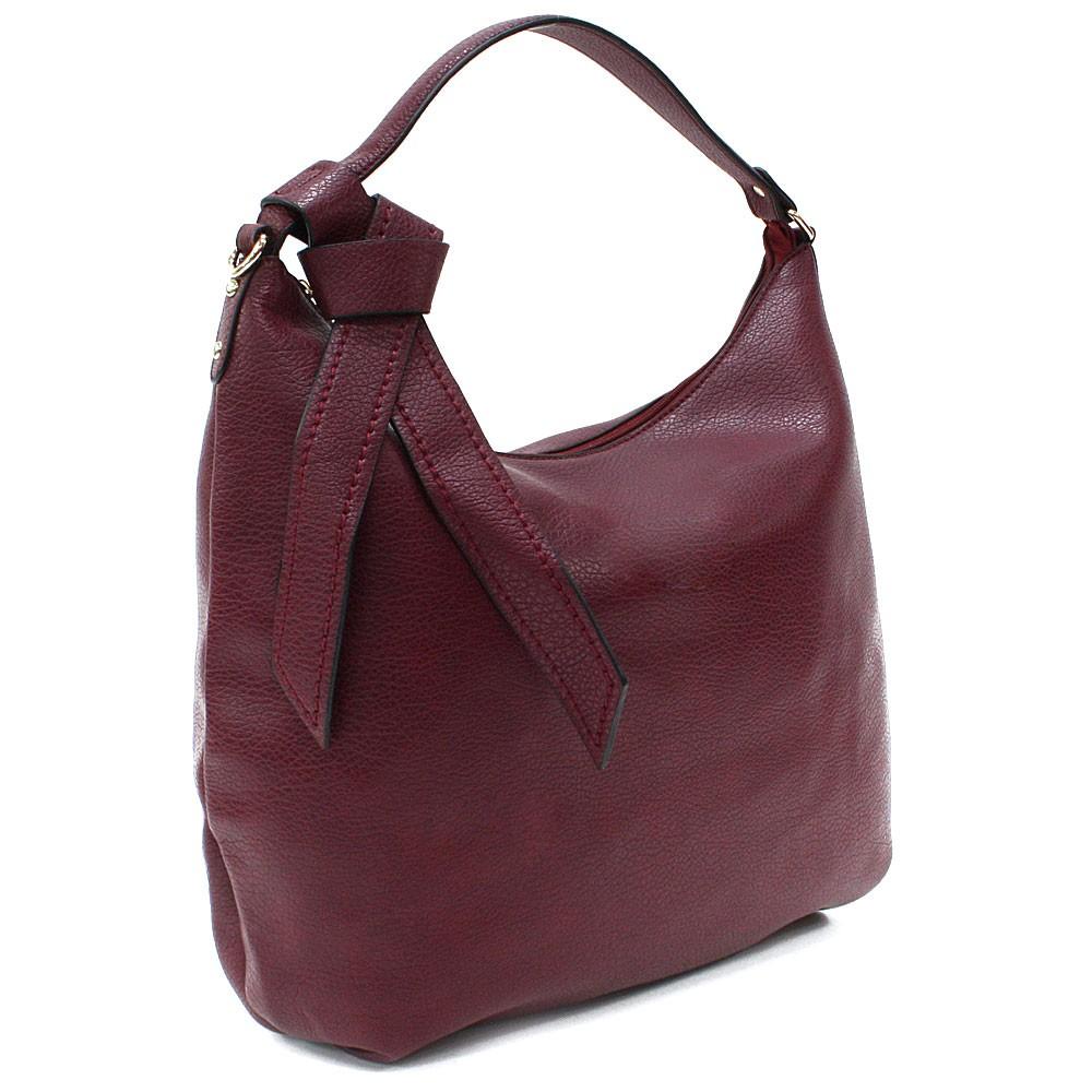 Tmavě červená hladká dámská kabelka přes rameno Aubine