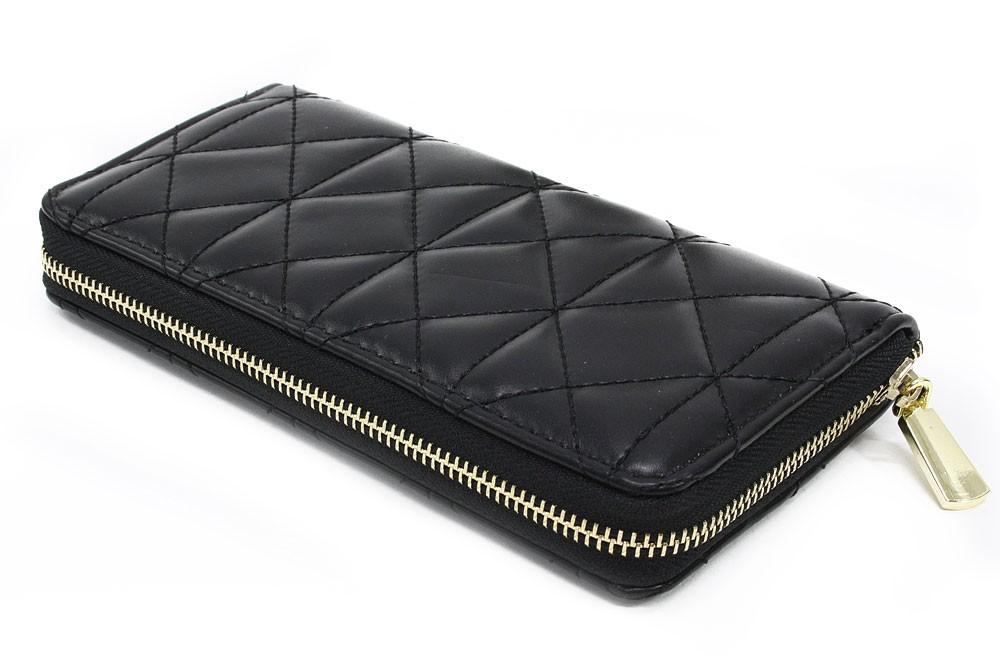Černá velká zipová prošívaná dámská peněženka Beta