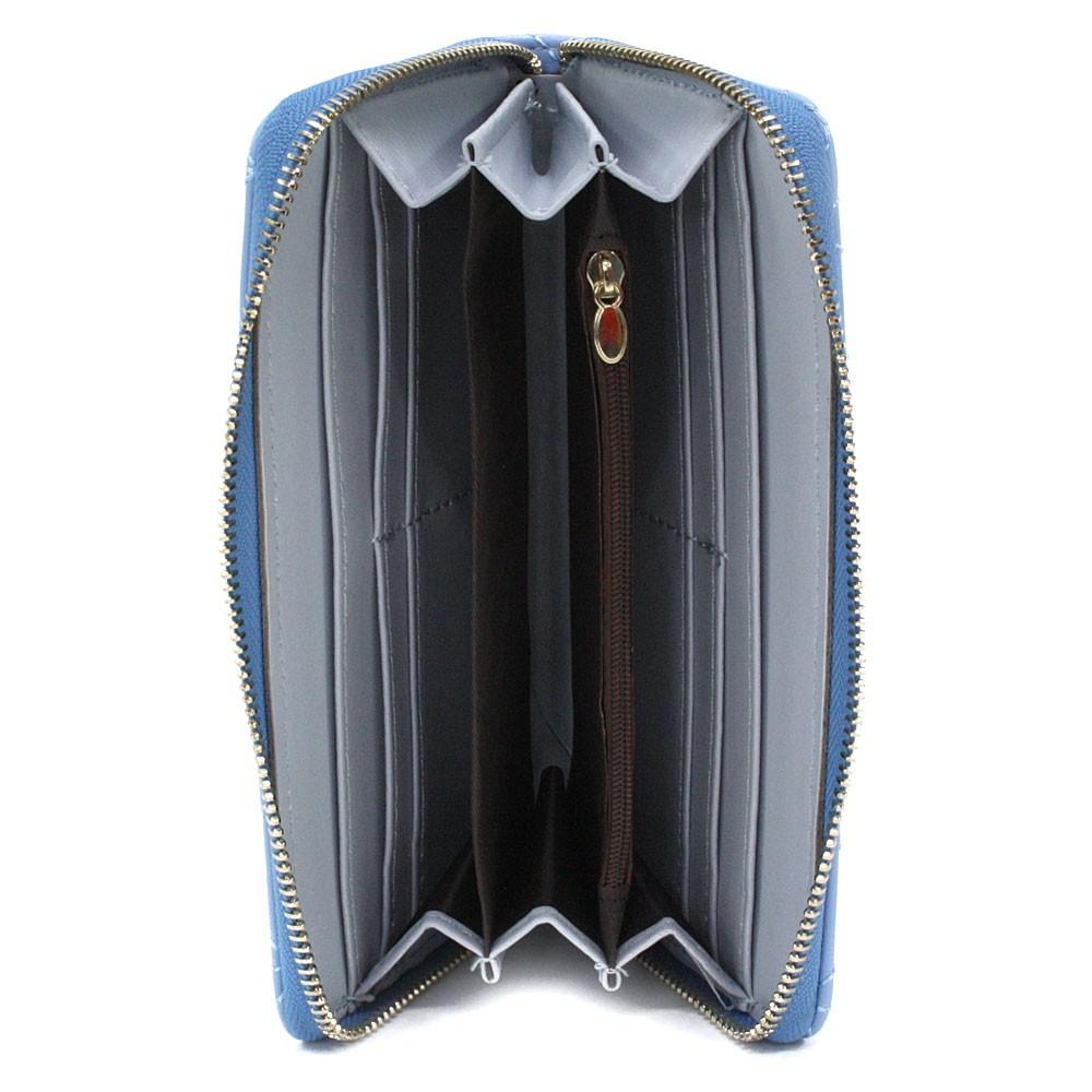 Světle modrá velká zipová prošívaná dámská peněženka Beta