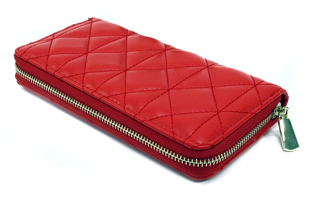 Červená velká zipová prošívaná dámská peněženka Beta