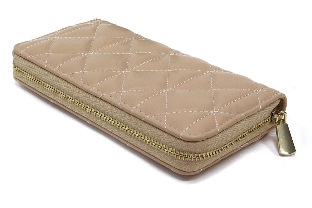 Béžová velká zipová prošívaná dámská peněženka Beta