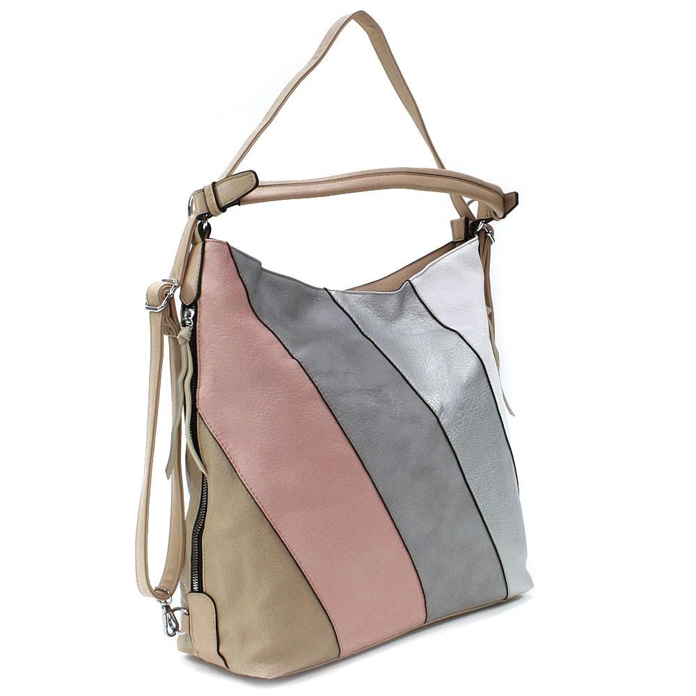 Béžová barevná dámská kabelka s kombinací batohu Ninette