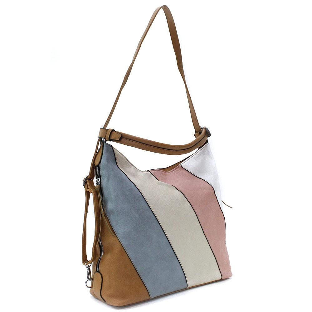 Hnědá barevná dámská kabelka s kombinací batohu Ninette