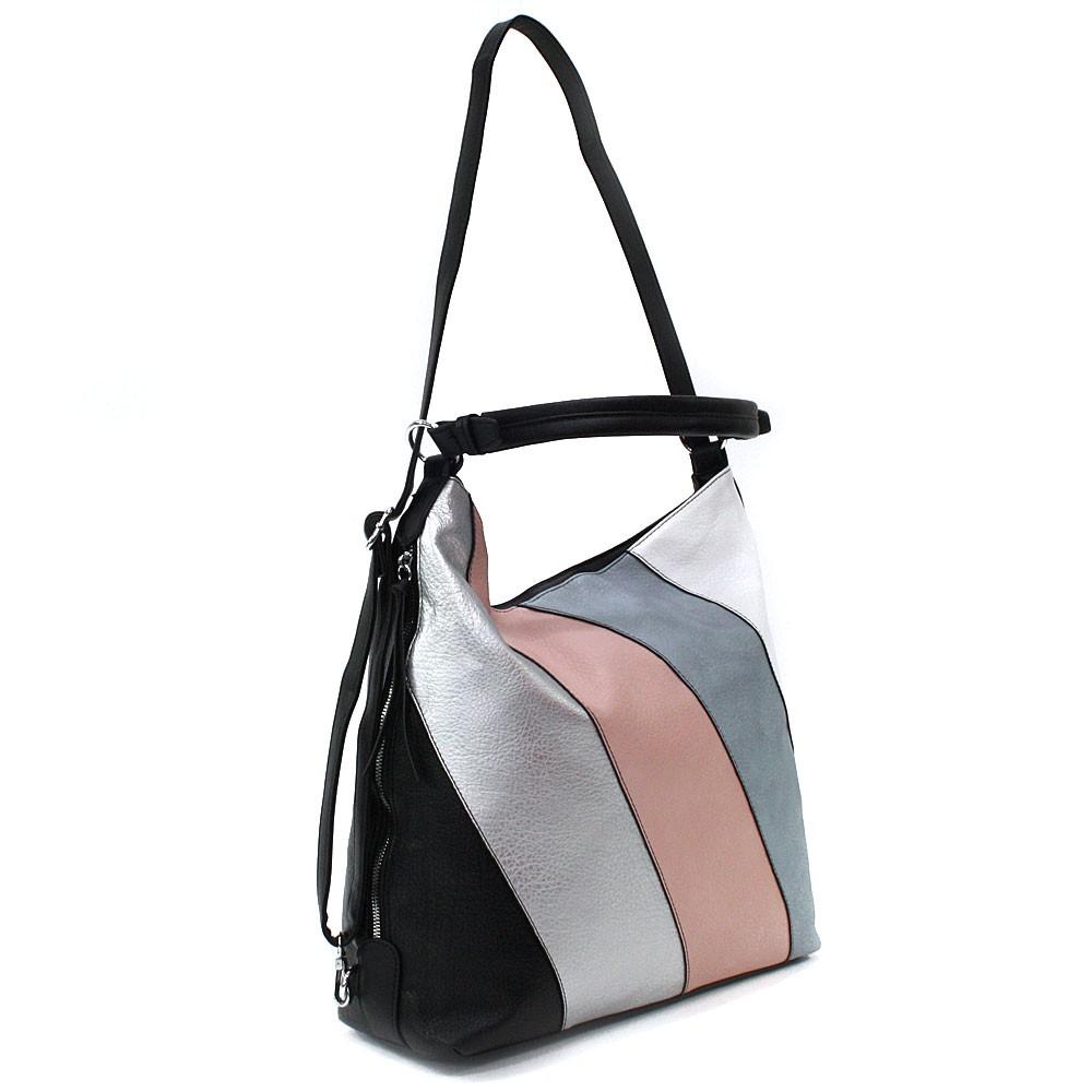 Černá barevná dámská kabelka s kombinací batohu Ninette