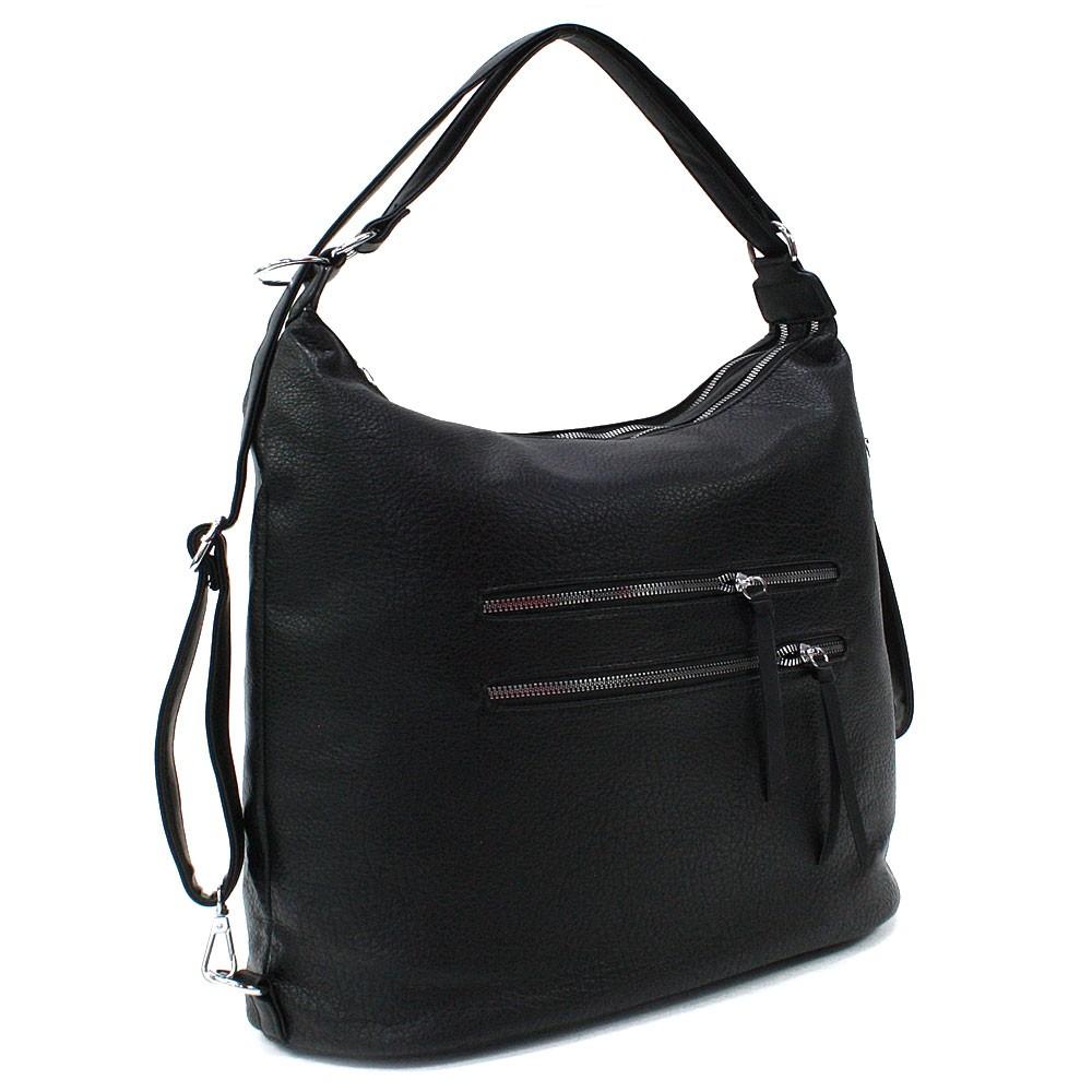 Černá velká dámská zipová kabelka v kombinaci batohu Coretta