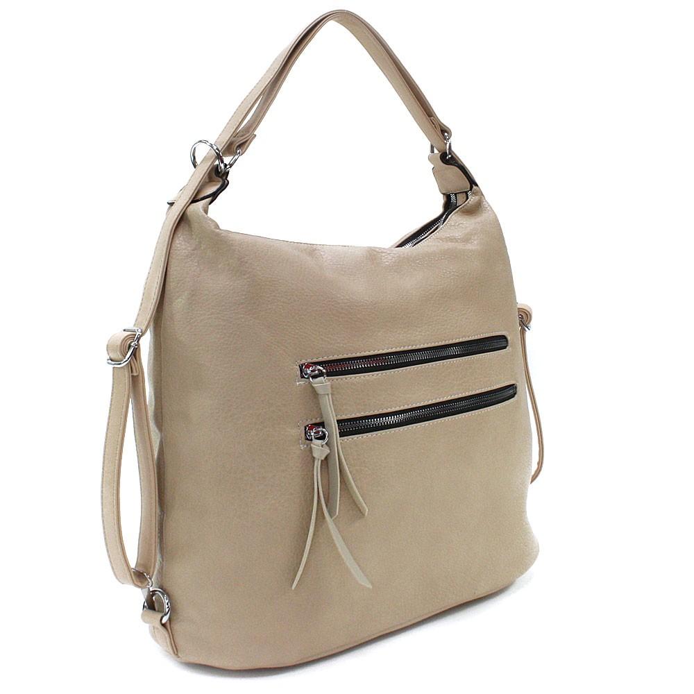 Béžová velká dámská zipová kabelka v kombinaci batohu Coretta