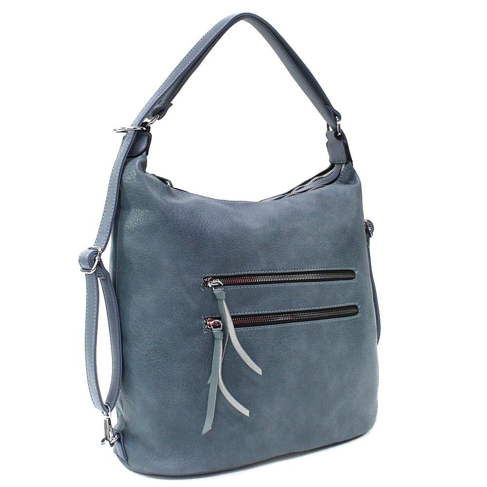 Modrá velká dámská zipová kabelka v kombinaci batohu Coretta