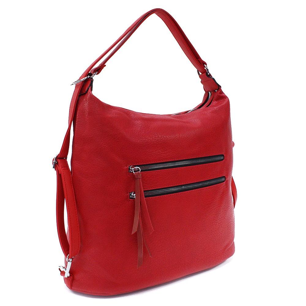 Červená velká dámská zipová kabelka v kombinaci batohu Coretta