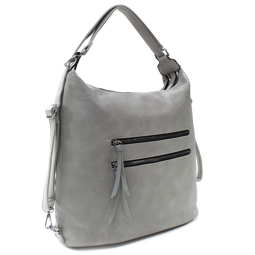Světle šedá velká dámská zipová kabelka v kombinaci batohu Coretta