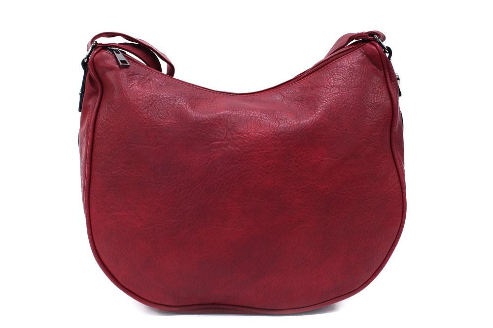 Tmavě červená zipová dámská kabelka ve tvaru gondoly Michella