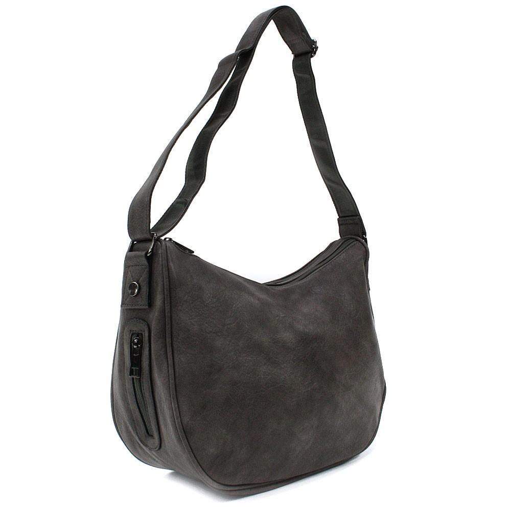 Tmavě šedá zipová dámská kabelka ve tvaru gondoly Michella
