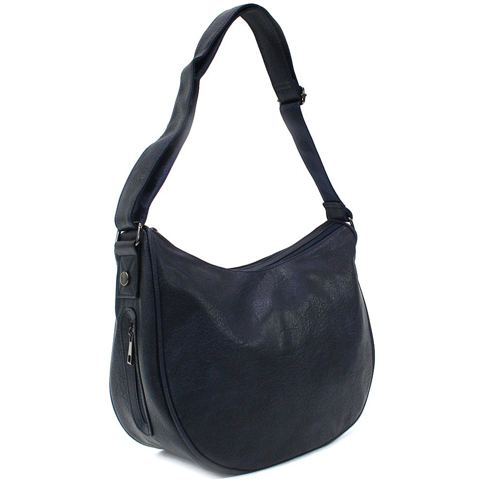 Tmavě modrá zipová dámská kabelka ve tvaru gondoly Michella