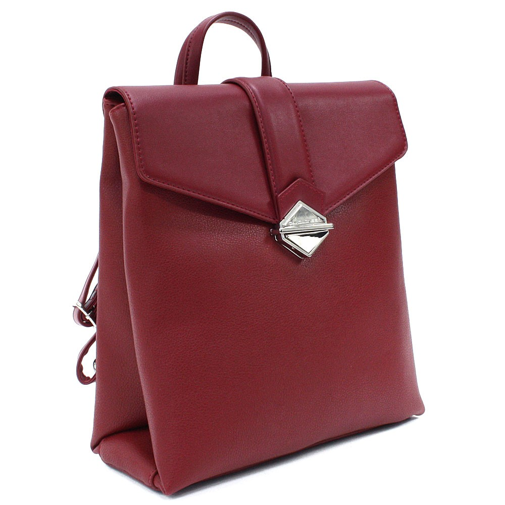 Tmavě červený dámský klopnový batoh Vickie