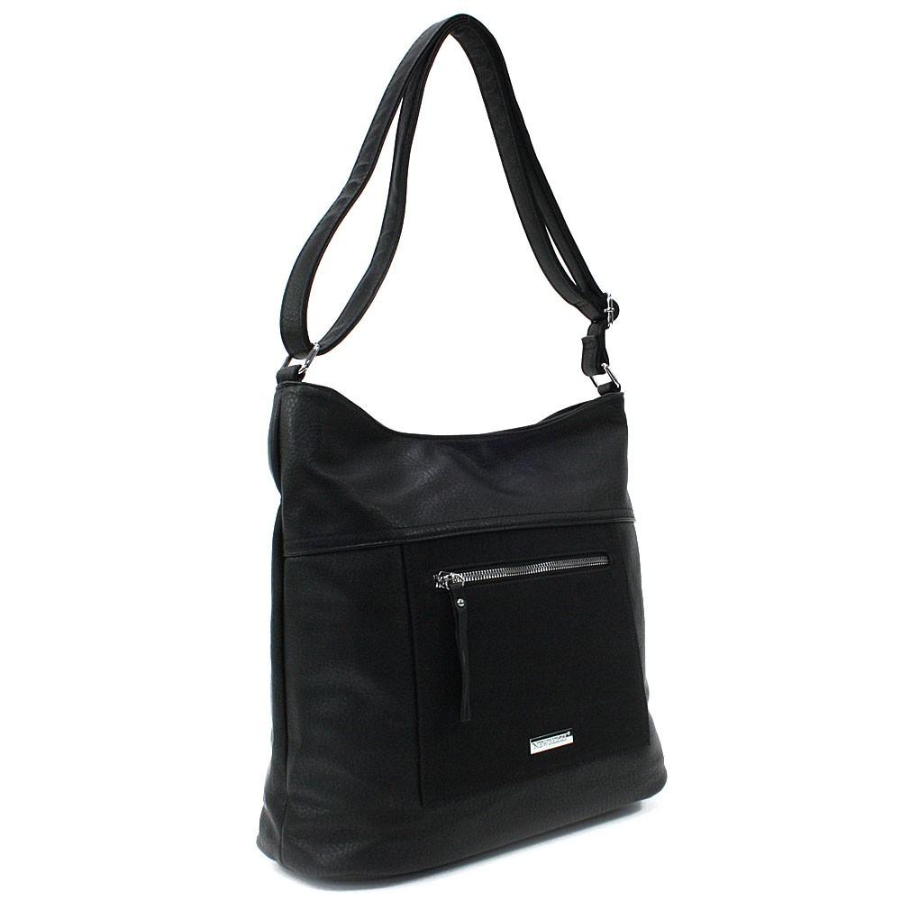 Černá elegantní zipová dámská kabelka Marveille