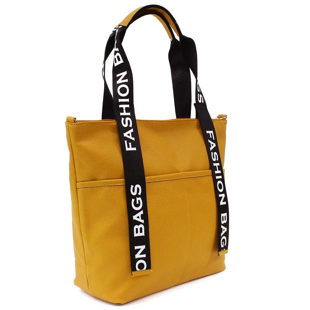 Žlutá velká dámská zipová taška Adelia