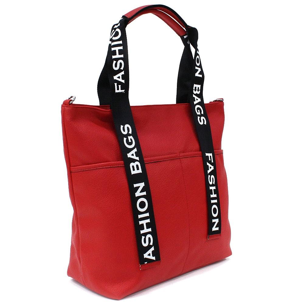 Ostře červená velká dámská zipová taška Adelia