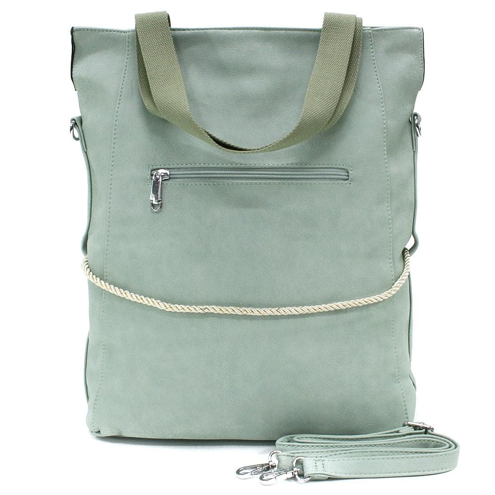 Světle zelená velká dámská zipová taška Liealia