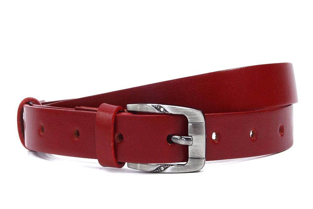 Červený hladký kožený dámský opasek s ozdobnou sponou Iscah
