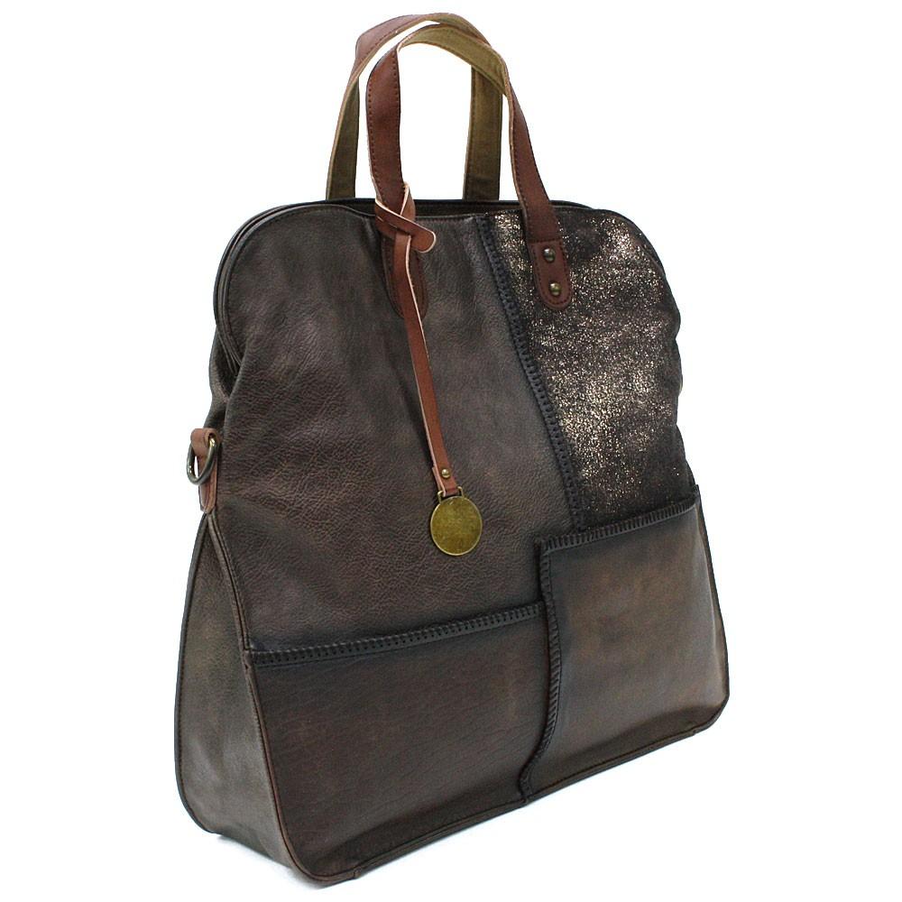 Tmavě hnědá dámská zipová taška Azurine