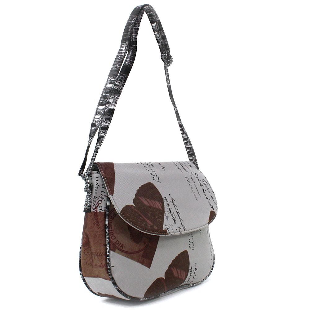 Šedohnědá klopnová dámská kabelka s potiskem Josalyn
